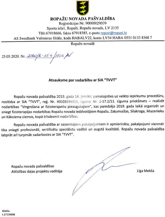 SIA TVVT atsauksme - Ropažu Novada dome